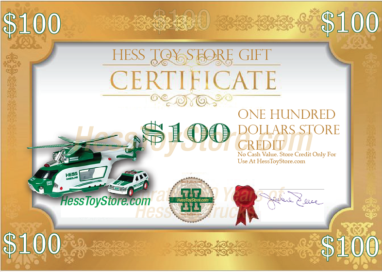Hess Toy Truck Gift Certificates